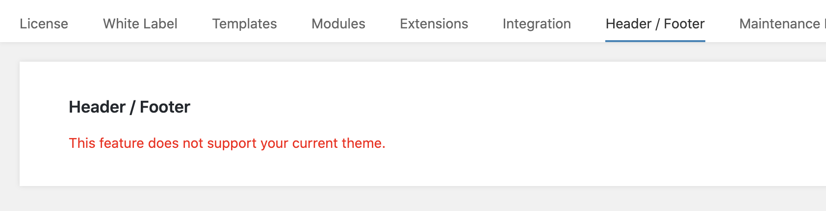 Header/Footer: Theme Not Supported Error