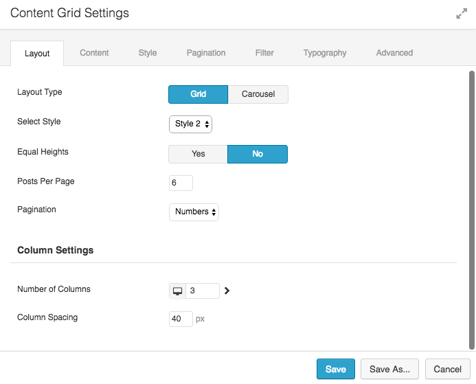 Content Grid Layout Options