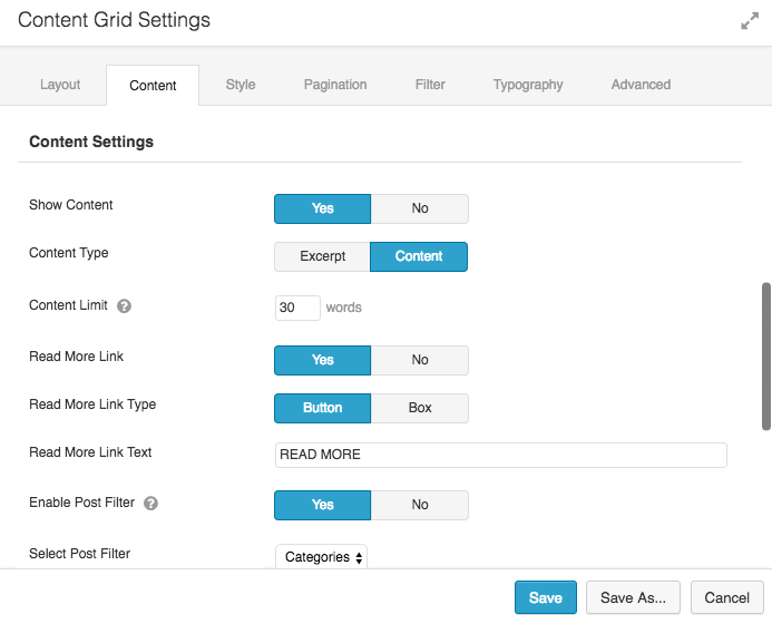 Content Grid Settings 1