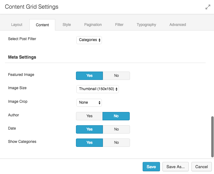 Content Grid Settings 3