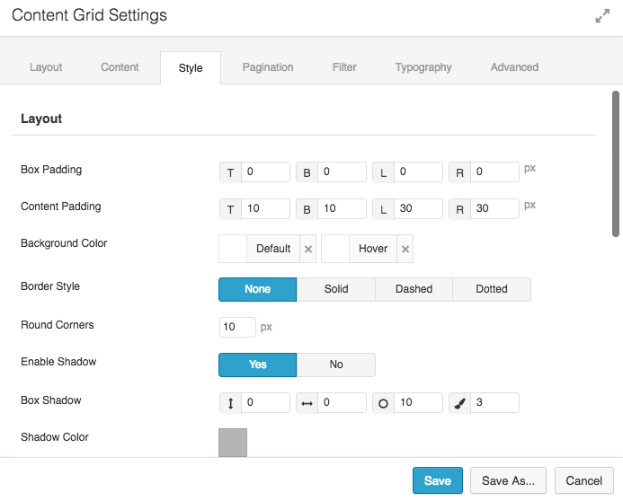 Content Grid Style Options 1