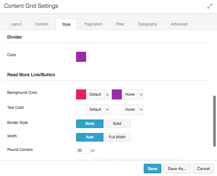 Content Grid Style Options 2