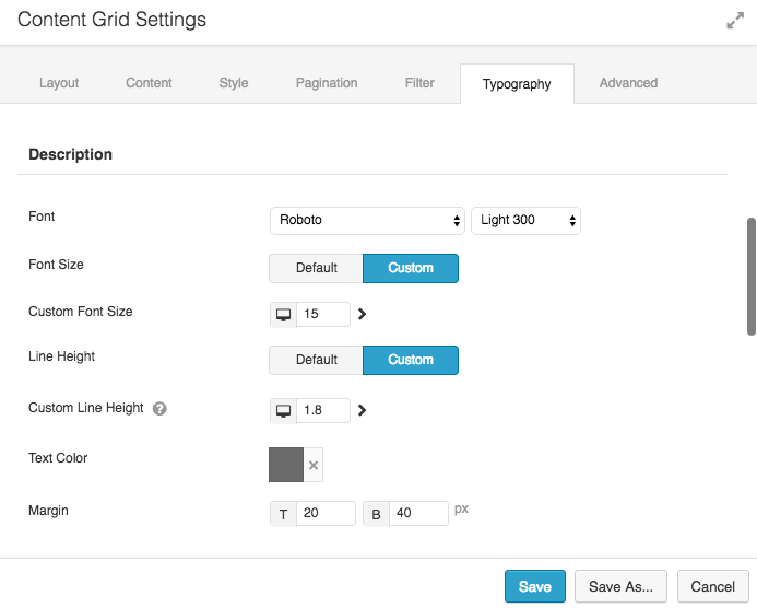 Content Grid Typography Options 2