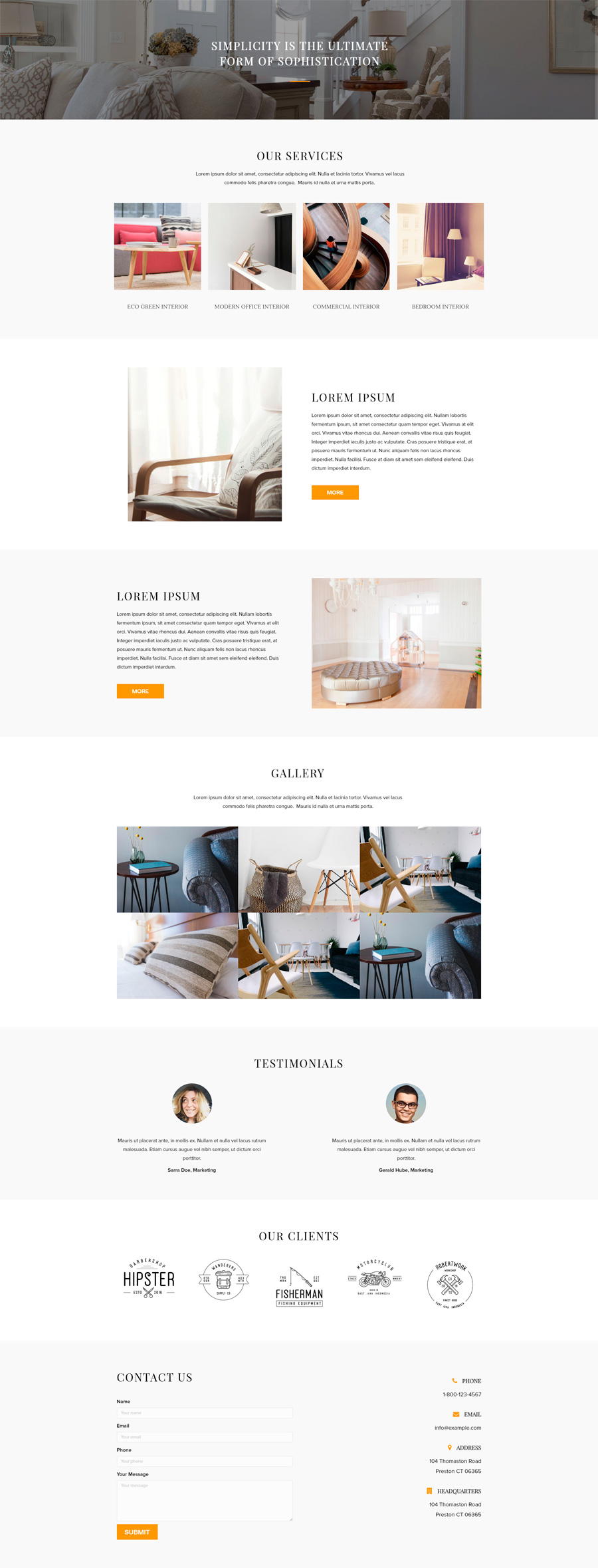 Interior Design Template - Home Page