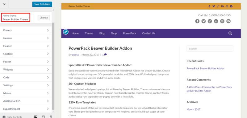 customize beaver builder theme