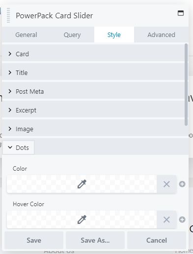 style tab card slider