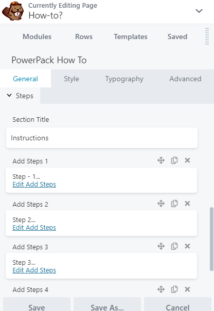 Define steps: How-to module