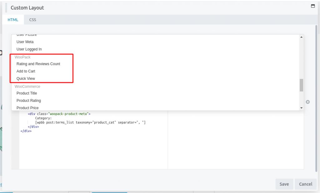 WooPack's Custom Themer Codes