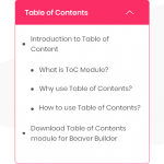 Table of Content Module