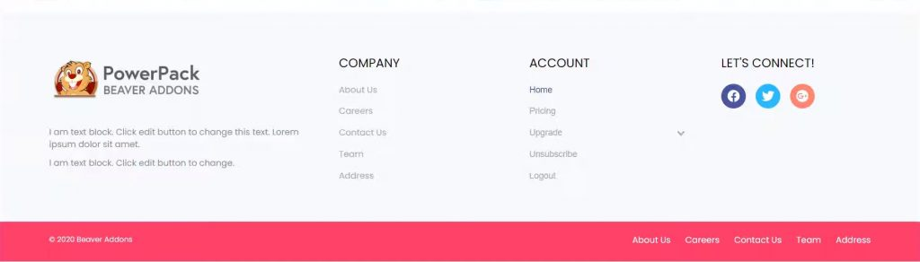 footer design with powerpack