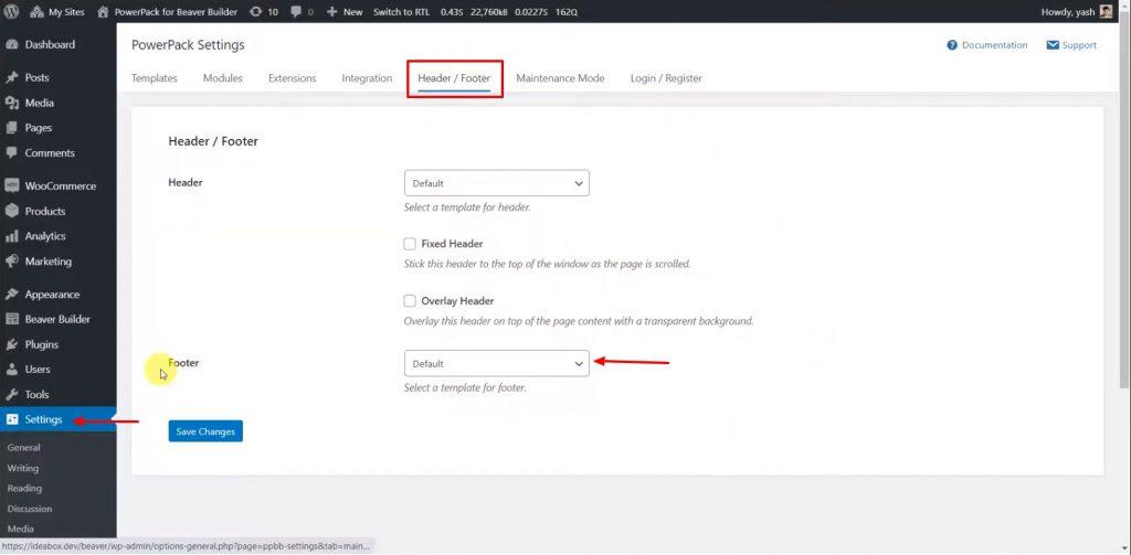 custom header settings option of PowerPack
