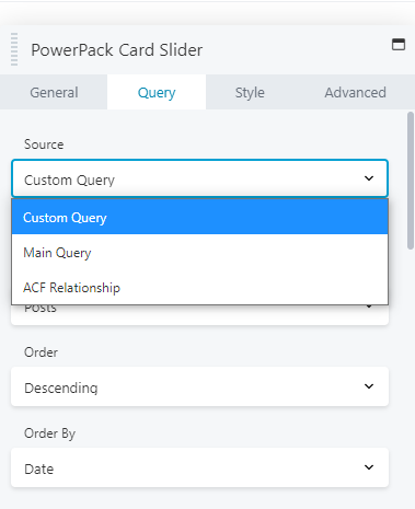 advanced options with card slider module
